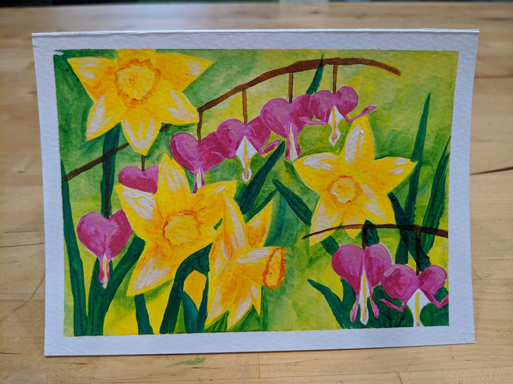 painting of pink bleeding hearts and yellow daffodils