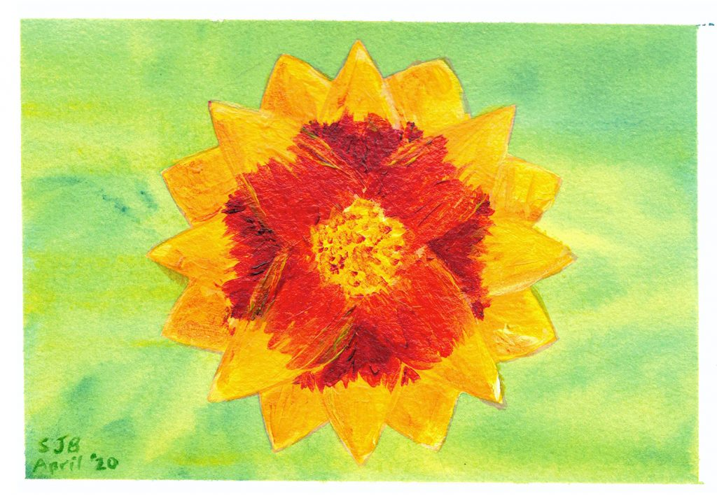 joy in geometry - painting of stylized version of a blanket flower on a green background
