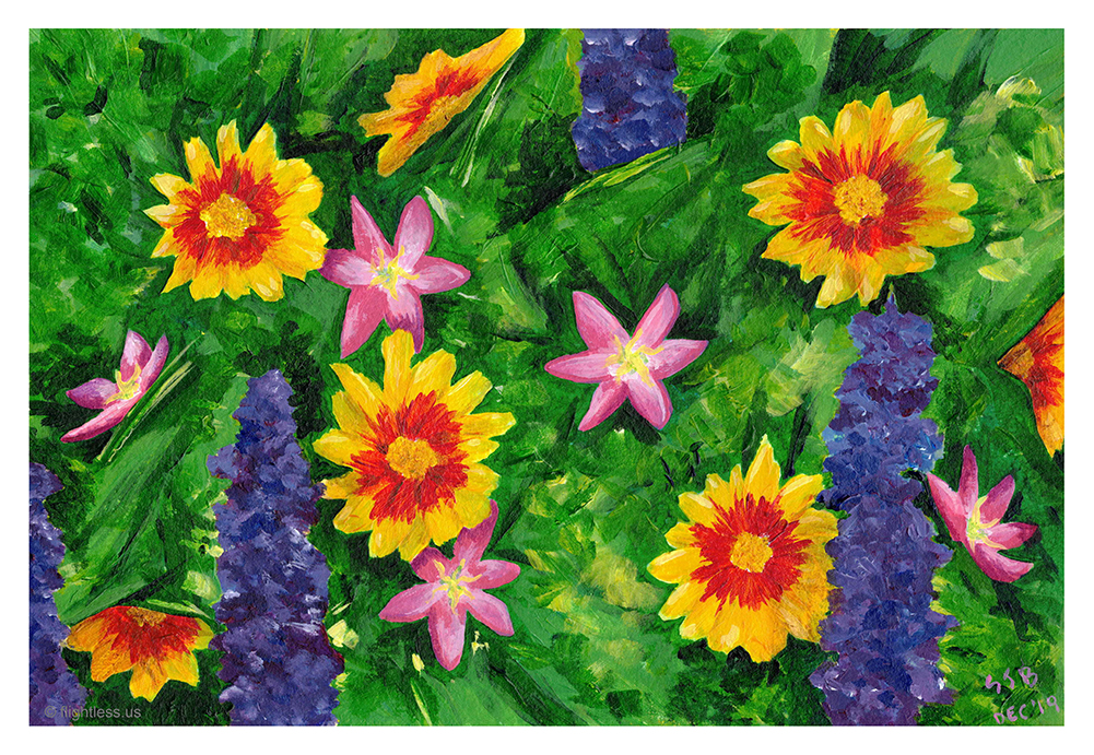 Painting of flowers using cyan, magenta, and yellow.
