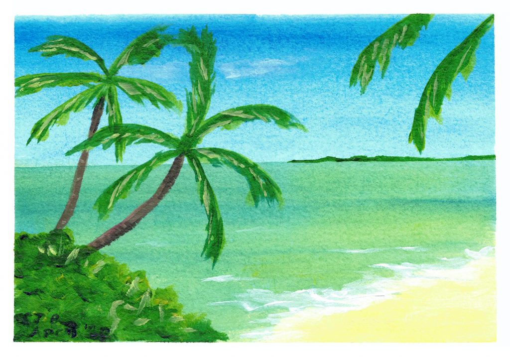 Tropical Paradise: Remote Edition - Beach with turquoise water and swaying palm trees